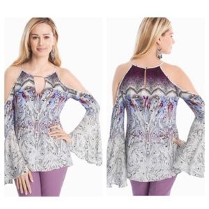 New WHBM Paisley Cold Shoulder Blouse